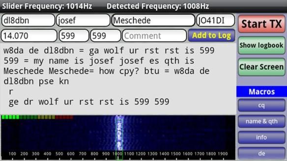 DroidPSK is an application to decode and encode Ham Radio
